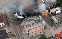 Bandidos hovedkvarter i Drammen ble fullstending jevnet med jorden i bombeattentatet.(Arkivbilde)