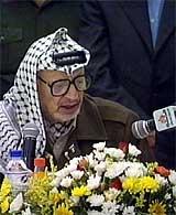Palestinernes president Yasir Arafat står fast på at han vil erklære en plaestinsk stat.