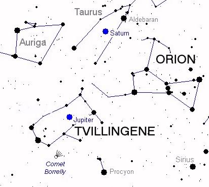 Kometen Borrelly er nå like ved Tvillingene