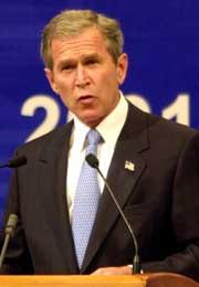 USAs president George W. Bush støtter det saudiarabiske fredsforslaget. (Arkivfoto: Scanpix/AP)