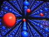 Røde nøytroner raser igjennom molekylene