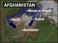 I løpet av natten rykket Nord-alliansen inn i hovudstaden Kabul og skal ha overtatt byen (grafikk: NRK).