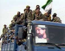 Soldater fra Nordalliansen på vei til Kabul