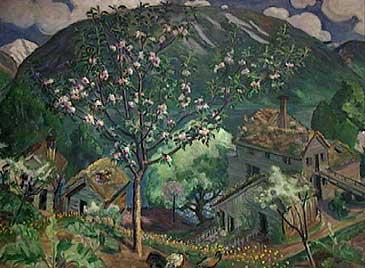 Nikolai Astrup kj�pte eit sm�bruk p� Sandalstrand i 1912. Her har kunstnaren sj�lv m�la det som seinare vart kalla Astruptunet.