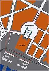 Området rundt Rådhusplassen i Oslo sperres av. (Grafikk: NRK)