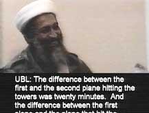 Osama bin Laden lar seg filme i samtale med tre menn. (Foto: Scanpix/AP)