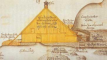 På Farnes vart det bygt smeltehytta i 1709. (Teikning © Riksarkivet)