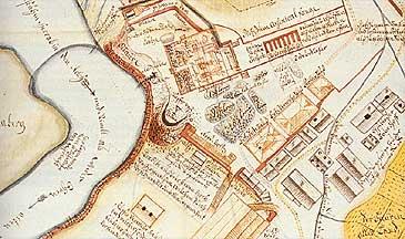 Utsnitt av Johann Heinrich von Schört sitt kart over koparverksbyen på Farnes med Fardalselva til venstre. (Kart © Riksarkivet)