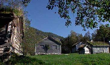 Nokre av bygningane ved Sunnfjord Museum. (Foto: NRK)