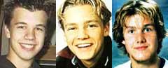 Lars Gillesen Hogsnes (v.), Magnus Stangeby Hasleto og Jonas Fredbo er alle sporløst forsvunnet.
