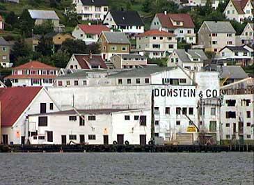 Domstein i Måløy har vakse til å bli eitt av dei største fiskerikonserna i verda. Dette er det gamle anlegget i Måløy sentrum. (Foto: NRK)