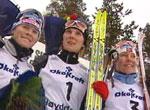 Skari på toppen av seierspallen, med Gjermundshaug Pedersen og Moen på hver sin side