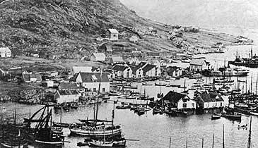 Kalvåg i 1904. På denne tida var det fleire konkurrerande dampskipsselskap som stopppa i Kalvåg. (Foto © Fylkesarkivet)