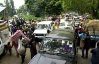 Det er kaos i byen Goma i Kongo etter vulkanutbruddet nær byen. (Foto: Scanpix/AP Sayid Azim)