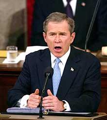 """Talen til George Bush om """"rikets tilstand"""" har ført til reaksjoner hos USAs allierte. (Scanpix-foto)"""