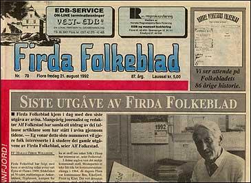 Sisteutgåva av Firda Folkeblad fredag 21. august 1992.