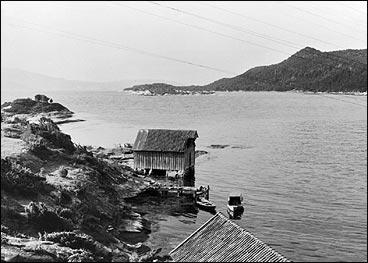 Naust og kai i Rysjedalsvika i 1960 - seks år før ferjeleiet vart opna. (Foto © Fylkesarkivet)