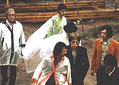 The Band på vei til scenen på Woodstock-festivalen.