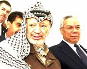 Søndag besøkte Colin Powell Yasir Arafat i Ramallah. Onsdag møtes de to i gjen. (Foto: Scanpix/AP/Palestinian Authority, Hussein Hussein)