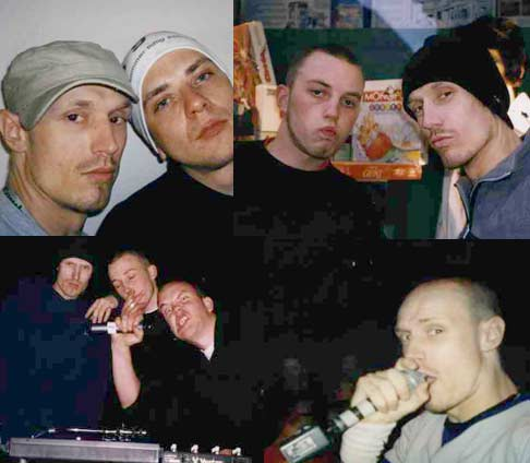 Jester med venner; Jester & Jørg-1 (ø.v), Jester & DJ Tompa Terror (ø.h), Jester, Elling & DJ Tompa Terror (n.v) og Jester live @ 2xH (n.h)