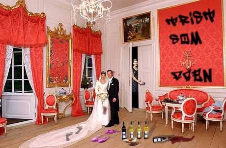 Er dette slik det originale bryllupsfotoet opprinnelig har sett ut? (Originalfoto: ScanPix/Fame Fotograf Schrøder/Tor Erik L. S. Dankworth)