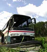 Bussen velta ned ei skråning og utpå eit jorde. Ei kvinne omkom i ulykka.(Foto: Ola A. Thorset/SCANPIX)