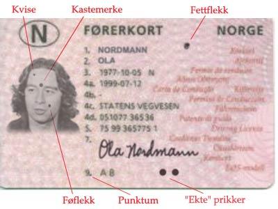 Manipulert førerkort belastet med mange former for prikker. Men i virkeligheten vises bare prikkene i dataregisteret. (Illustrasjon: NRK)