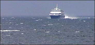 Ekspressbåten på veg inn til Balestrand. (Foto: Arild Nybø, NRK)