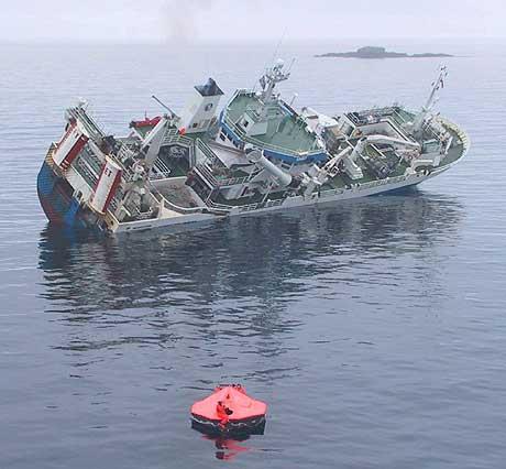 Gudrun Gisladottir like før hun sank. Foto: 330-skvadronen.