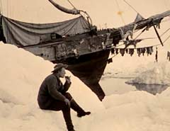 Fridtjof Nansen ved Fram i 1894 (Foto: Nasjonalbibilioteket avdeling Oslo, Billedsamlingen)