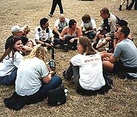 Den første chatgruppa på Roskilde i 1999 (foto: Catgirl).