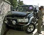 Qadirs bil etter attentatet. Foto: Beawiharta/Reuters