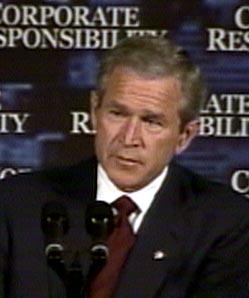 REFS: President George W. Bush refset det amerikanske næringslivet i går. Men opposisjonen mener at han var lite konkret.