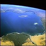 Kypros og omkringliggende land sett fra et romskip