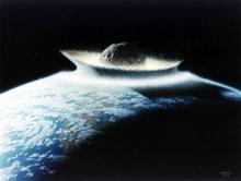 For 65 millioner år siden slo en kjempeasteroide ned i det som nå er Mellom-Amerika. Jorden ble lagt i aske og mørke i mange år. (Illustrasjon: Don Davis/NASA)