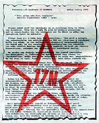 Brevet som den greske avvisen mottok, er markert med 17. novembers røde stjerne. (Foto: Reuters/Yiorgos Karahalis)