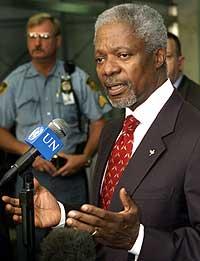 Kofi Annan seier også at olje for mat-programmet i Irak må leggjast ned sidan mannskapa blir trekte ut