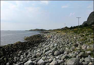 Ved Staveneset er det fleire helleristingar og røyser. (Foto: A. Nybø, NRK)