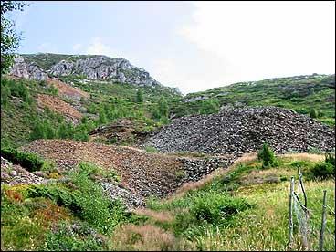 Slagghaugane etter gruvedrifta er godt synlege på Grimelid. (Alle foto: Arild Nybø, NRK)