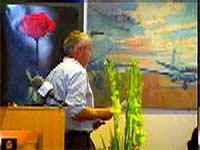 Avtroppende Ap-leder Thorbjørn Jagland forlater talerstolen på Gardermoen.