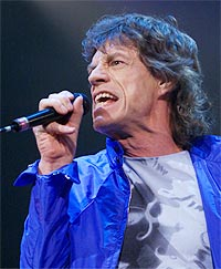 Mick Jagger og the Rolling Stones under første konsert av 2002 Licks World tour. Foto: REUTERS / Jim Bourg.