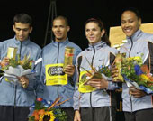 Marokkos Hicam El Guerrouj, Felix Sanchez, Ana Guevara og Marion Jones er glade for gullet (Foto: Allsport)