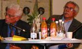 Jacques Derrida og Izzat al-Ghazzawi under litteraturfestivalen Kapittel i Stavanger i fjor.