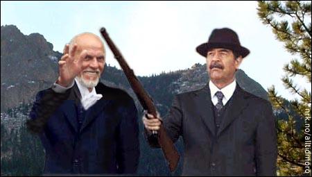 - Han Saddam e'kje helt god når det gjelder våben, sier Sven O. Høiby om sin nye jaktkamerat