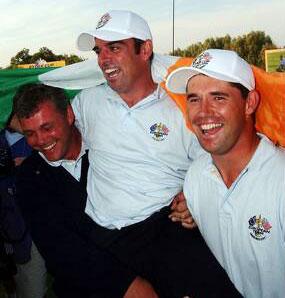Paul McGinley ble den store helten med den avgjørende putten (Foto: Allsport)