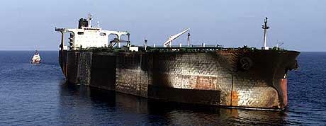 Det er funnet spor av TNT om bord i supertankeren