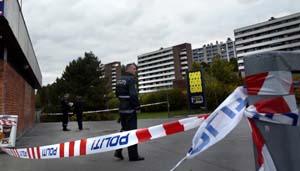 Mannen ble drept rett bak Bogerud T-banestasjon. (Foto: Erlend Aas, Scanpix)