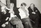 Ola Bauers 50-årsdag. Med Kjartan Fløgstad og Lars Saabye Christensen. Bilde fra boken.