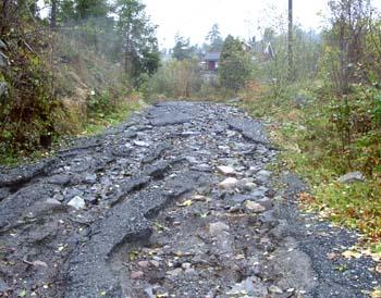 Vei i Bamble som ble totalt ødelagt i formiddag.