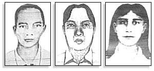 Tegninger av tre mistenkte som er etterlyst etter bombeangrepet på Bali.